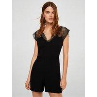 Mango Lace Detail Playsuit - Black, Black, Size M, Women