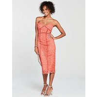 Mango Lace Midi Dress - Coral, Coral, Size L, Women