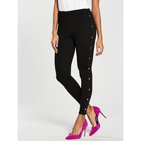 V by Very Side Popper Detail Legging - Black, Black, Size 18, Women