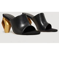 Mango Abstract Heel Mule - Black, Black, Size 5, Women