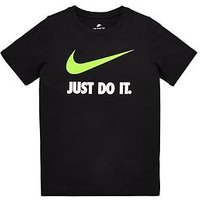 Boys, Nike OLDER BOYS JDI SWOOSH TEE, Black, Size M=10-12 Years