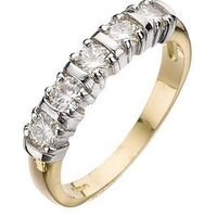 Moissanite 18 Carat Yellow Gold 50 Point 5 Stone Eternity Ring, Size L, Women