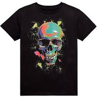 Boys, V by Very Multicolour Skull T-shirt, Black, Size 13 Years