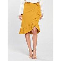 V by Very Wrap Over Frill Midi Skirt - Mustard, Mustard, Size 16, Women