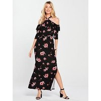 V by Very Halter Neck Frill Maxi Dress - Floral Print, Floral Print, Size 12, Women