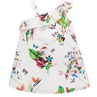 Baker by Ted Baker Girls Printed One Shoulder Dress, White, Size 4-5 Years, Women