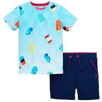 Baker by Ted Baker Boys Ice Lolly T-Shirt & Short Outfit, Multi, Size Age: 3-4 Years