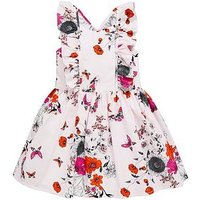 Mini V by Very Girls Woven Stripe Floral Dress - Pink, Pink, Size 4-5 Years, Women