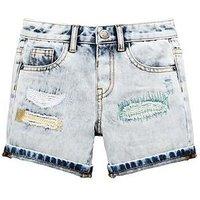 Mini V by Very Toddler Boys Reversed Patch Distressed Denim Shorts - Denim, Denim, Size Age: 18-24 Months