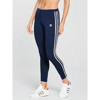 adidas Originals 3 Stripe Tight - Navy , Navy, Size 6, Women