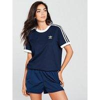 adidas Originals 3 Stripe Tee - Navy , Navy, Size 10, Women
