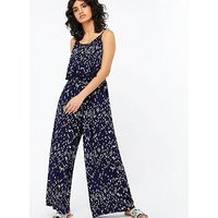 Monsoon Soriah Printed Jumpsuit - Navy
