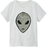 Mango Boys Alien Reverse Sequin T-Shirt, Grey, Size 11-12 Years