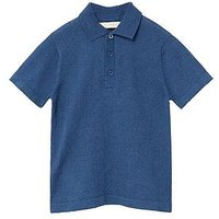 Mango Boys Short Sleeve Polo, Navy, Size 7-8 Years