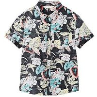 Mango Boys Floral Short Sleeve Shirt - Black, Black, Size 5-6 Years