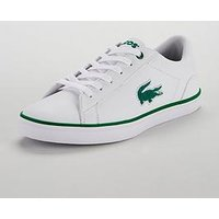 Lacoste Lacoste Lerond 318 Flocked Lace Up Plimsoll, White/Green, Size 4 Older