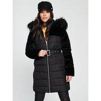 V by Very Velvet Mix Padded Coat - Black, Black, Size 14, Women