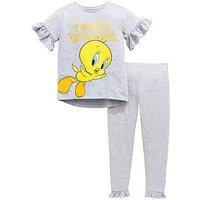 Tweety Pie Girls Glitter Print Tweety Frill Pyjamas Set, Multi, Size Age: 9-10 Years, Women