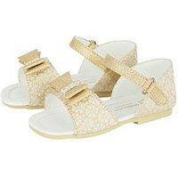 Monsoon Baby Girls Premium Bow Metallic Walker Sandal, Gold, Size 6 Younger