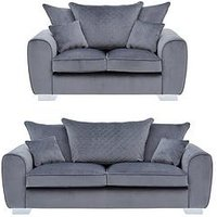 Product photograph showing Vibe Fabric 3 Seater 2 Seater Scatter Back Sofa Buy And Save