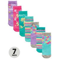 Mini V by Very 7 Pack Mermaid Socks - Multi, Multi, Size 0-2.5, Women