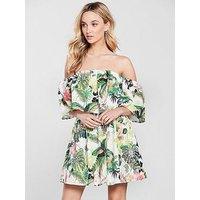 Guess Lucienne Bardot Dress - Tropical, Fleur De Lis White, Size S, Women