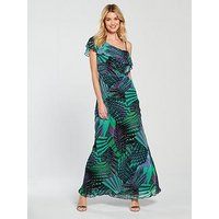 Guess Katelyn Dress - Green, Electro Leaves Combo, Size S, Women