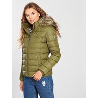 Tommy Jeans Essential Hooded Down Jacket, Military Olive, Size Xl, Women