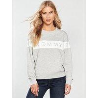 Tommy Jeans Logo Sweatshirt - Light Grey, Light Grey, Size Xl, Women