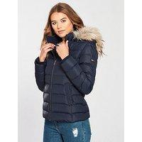 Tommy Jeans Essential Hooded Down Jacket - Navy, Black Iris, Size L, Women