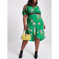RI Plus Printed Ruffle Waisted Dress - Green, Green, Size 20, Women