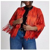 RI Plus Fringe Jacket- Red, Red, Size 24, Women