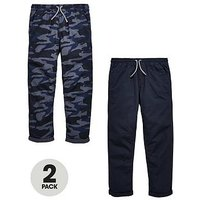Boys, V by Very 2 Pack Camo Pull On Slim Fit Trousers, Blue Camo, Size Age: 9 Years