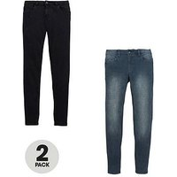 Boys, V by Very 2 Pack Skinny Jeans, Black/Grey, Size Age: 16 Years