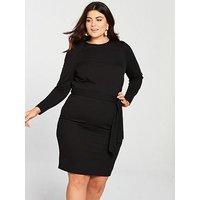 V by Very Curve Jersey Crepe Pencil Dress - Black, Black, Size 26, Women