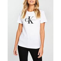 Calvin Klein Jeans Monogram Logo T-Shirt - Bright White, Bright White, Size Xl, Women