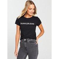 Calvin Klein Jeans Institutional Logo Slim Fit T-Shirt - Black, Ck Black, Size L, Women