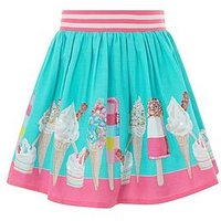 Monsoon Evie Border Skirt, Aqua, Size Age: 9-10 Years, Women