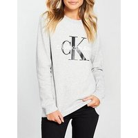 Calvin Klein Jeans Calvin Klein Monogram Logo Sweat, Light Heather Grey, Size L, Women