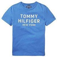 Tommy Hilfiger Boys Short Sleeve Logo T-shirt, Blue, Size 7 Years