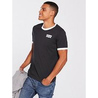 Levi's Levis Ringer Housemark T Shirt, Black/White, Size S, Men