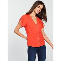 V by Very Button Down Tea Blouse - Coral, Coral, Size 20, Women