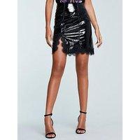 Michelle Keegan Lace Trim Vinyl Mini Skirt - Black, Black, Size 16, Women