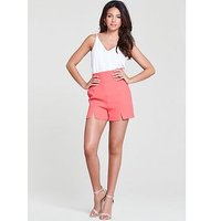 Michelle Keegan High Waisted Split Front Short - Coral, Coral, Size 16, Women