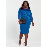 V by Very Curve Slinky Knot Front Dress - Cobalt Blue, Cobalt Blue, Size 24, Women