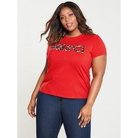 V by Very Curve Merci Animal Slogan T-shirt - Red, Red, Size 18, Women