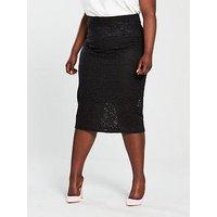 V by Very Curve Lace Pencil Skirt - Black , Black, Size 28, Women