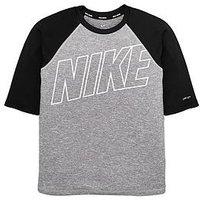 Nike Boys Half Sleeve Hydroguard, Grey/Black, Size Xl=13-15 Years