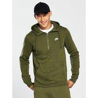 Nike Sportswear Half Zip Club Hoody, Olive /White, Size L, Men