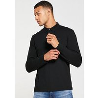 Lacoste Sportswear LS Polo Shirt, Black, Size 8, Men